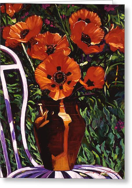 White Chair, Red Poppies Greeting Card