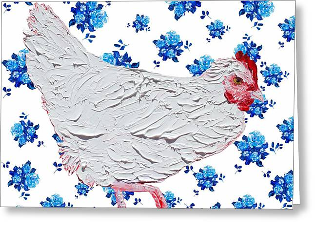 White Chicken On Blue Rose Background Greeting Card by Jan Matson