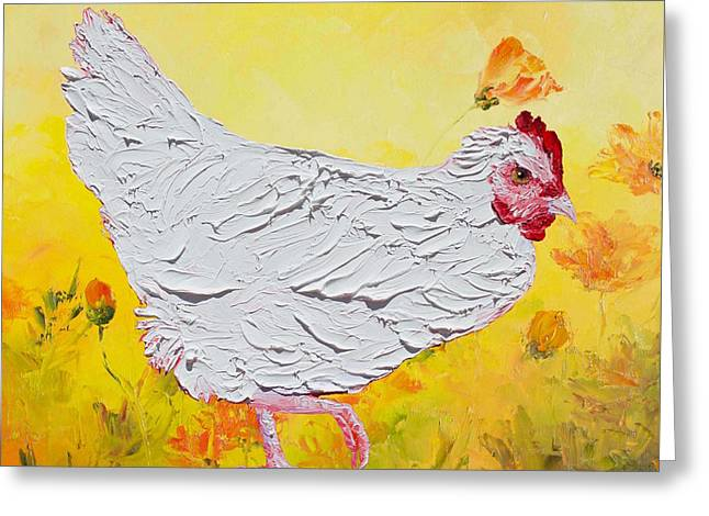 White Chicken On Yellow Floral Background Greeting Card
