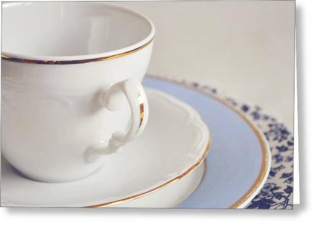 White China Cup, Saucer And Plates Greeting Card by Lyn Randle
