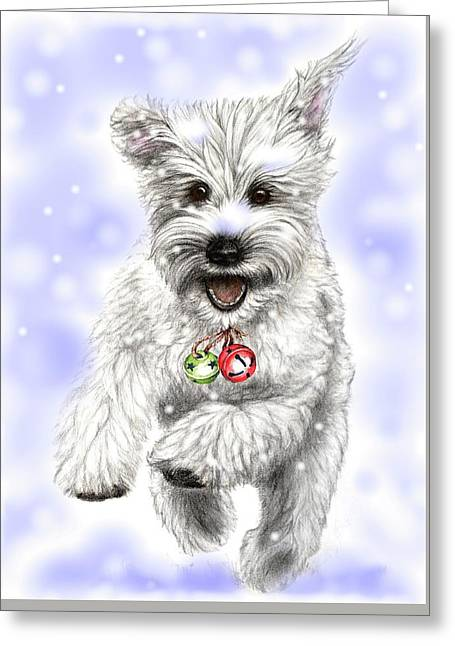 White Christmas Doggy Greeting Card by Heidi Kriel