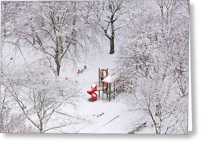 White Christmas Red Playhouse Greeting Card