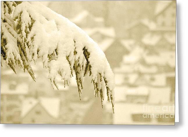White Christmas - Winter In Switzerland Greeting Card by Susanne Van Hulst