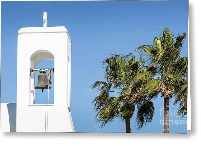 White Church And Palms, Agia Napa, Cyprus Greeting Card