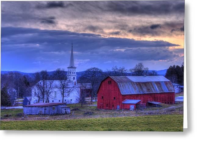 White Church And Red Barn - Peacham Vermont Greeting Card by Joann Vitali
