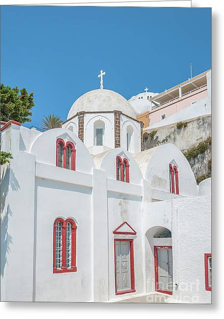 Greeting Card featuring the photograph White Church At Fira by Antony McAulay