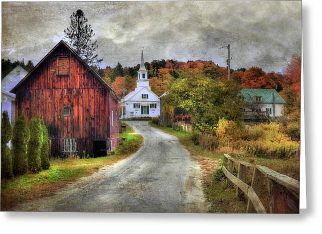 White Church In Autumn - Vermont Country Scene Greeting Card
