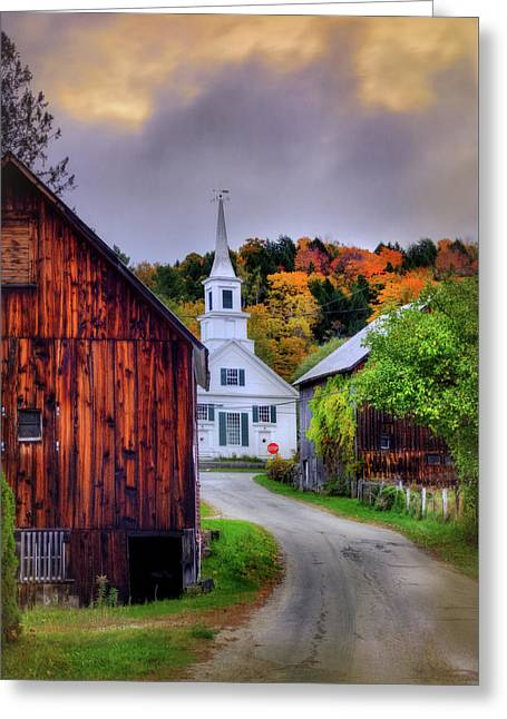 Greeting Card featuring the photograph White Church In Autumn - Waits River Vermont by Joann Vitali