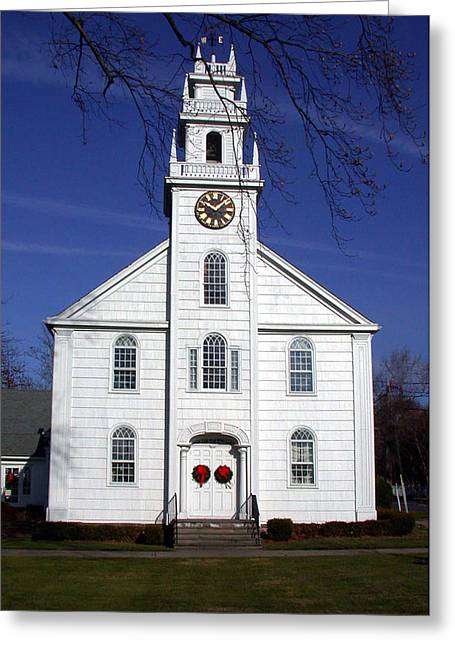 White Church Greeting Card by Janice Paige Chow