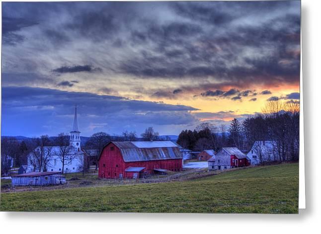 White Church Red Barn Country Scene - Peacham Vermont Greeting Card by Joann Vitali