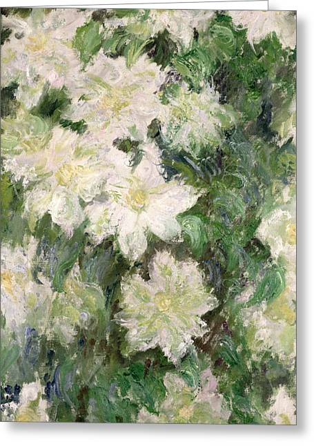 Blooming Paintings Greeting Cards - White Clematis Greeting Card by Claude Monet