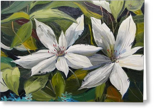 Greeting Card featuring the painting White Clematis by John Williams