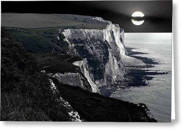White Cliffs Of Dover In Moonlight Greeting Card by Daniel Hagerman