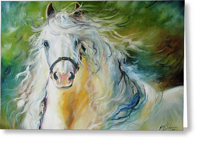 White Cloud The Andalusian Stallion Greeting Card by Marcia Baldwin