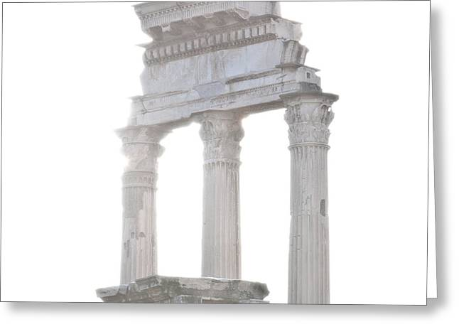 White Columns Temple Of Castor And Pollux In The Forum Rome Italy Greeting Card by Andy Smy