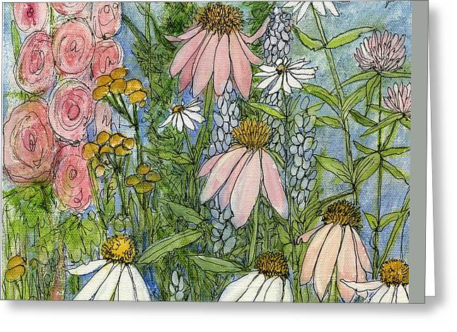 White Coneflowers In Garden Greeting Card