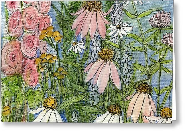 White Coneflowers In Garden Greeting Card