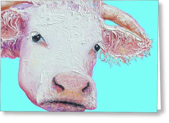 White Cow On Turquoise  Greeting Card by Jan Matson