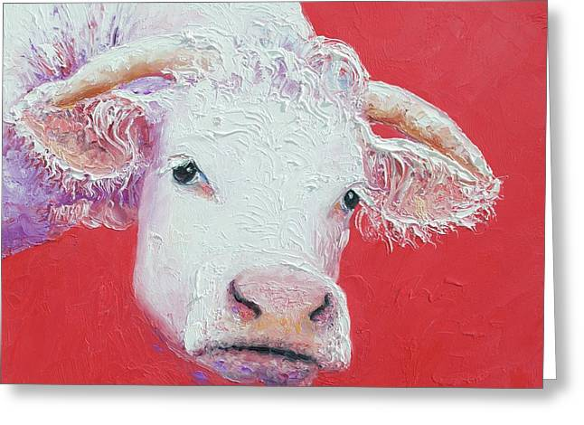 White Cow With Horns Greeting Card