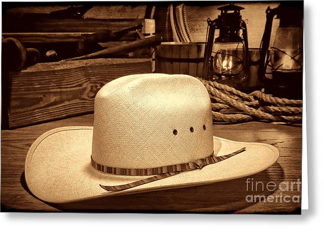 White Cowboy Hat In A Barn Greeting Card