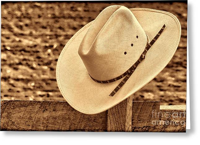 White Cowboy Hat On Fence Greeting Card