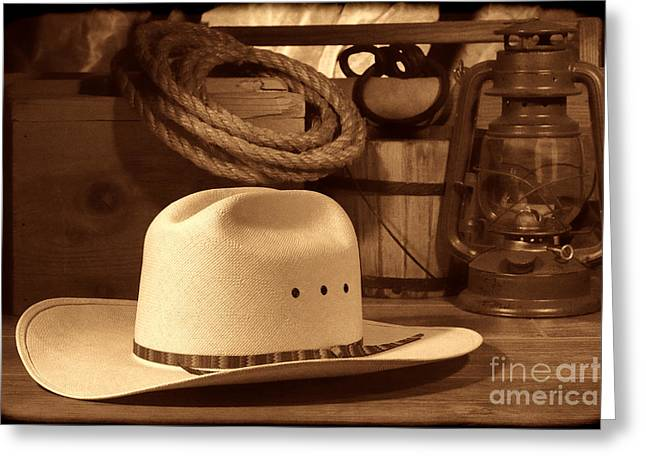 White Cowboy Hat On Workbench Greeting Card