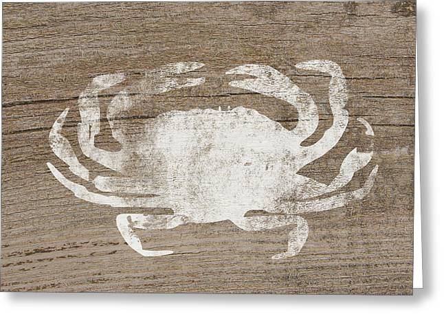 White Crab On Wood- Art By Linda Woods Greeting Card by Linda Woods