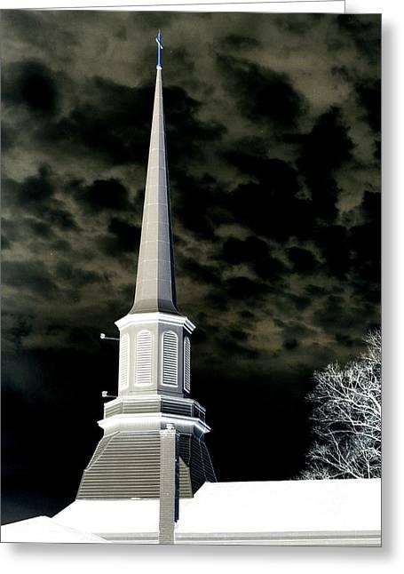 Finger Lakes Greeting Cards - White Cross Dark Skies Greeting Card by Joshua House