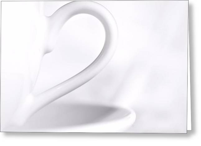 White Cup And Saucer Greeting Card by Josephine Buschman