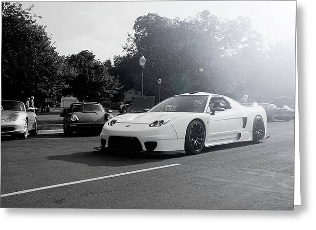 Greeting Card featuring the photograph White Custom Nsx  by Joel Witmeyer