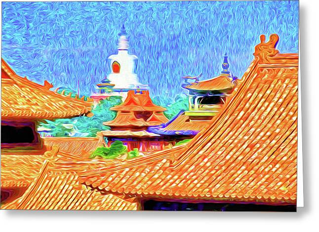 White Dagoba View Greeting Card by Dennis Cox