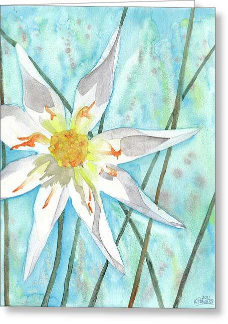 White Dahlia Greeting Card by Ken Powers