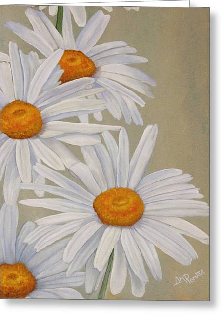 Greeting Card featuring the painting White Daisies by Angeles M Pomata