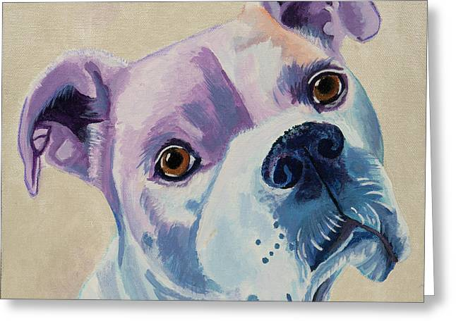 White Dog Portrait Greeting Card