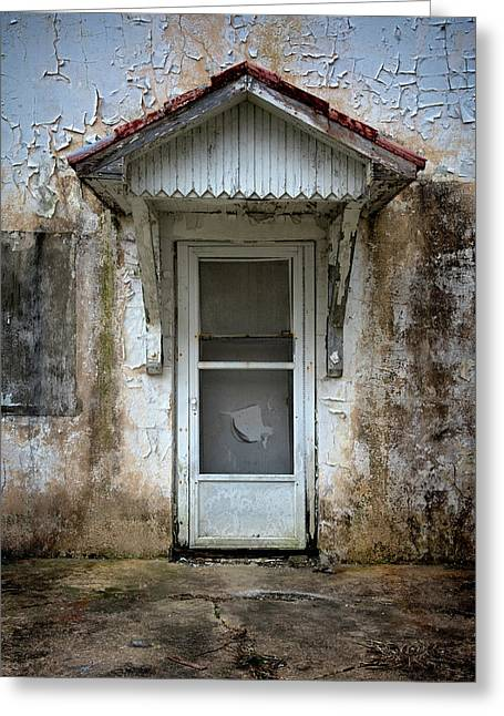White Door And Torn Screen Greeting Card