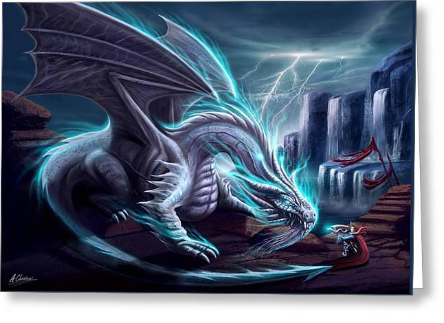 White Dragon Greeting Card by Anthony Christou