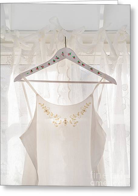 White Dress On Clothes Hanger Greeting Card by Elisabeth Coelfen