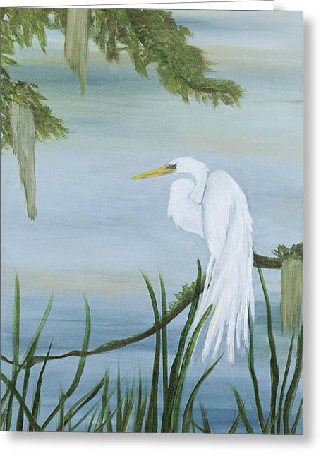 White Egret Greeting Card by Shirley Lawing