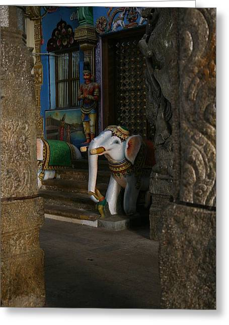 white Elephant Greeting Card by Deepak Pawar