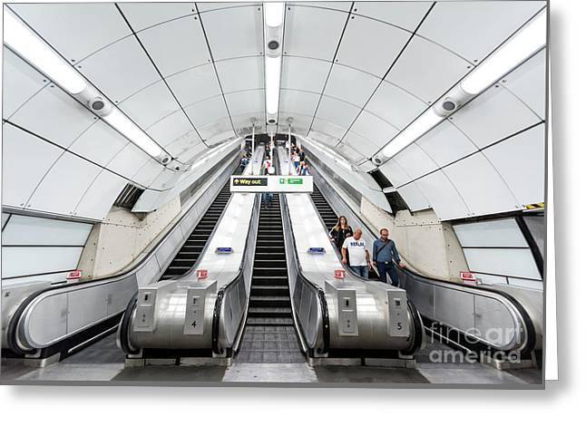 White Escalator Greeting Card by Svetlana Sewell