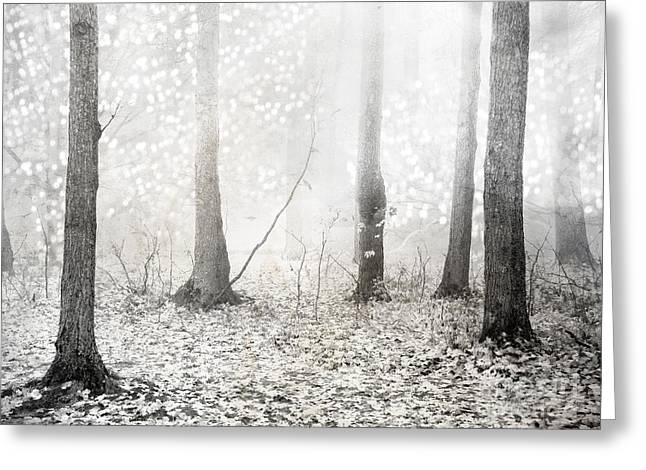 White Ethereal Mystical Trees Woodlands - Surreal White Fantasy Fairytale Nature Trees Greeting Card by Kathy Fornal
