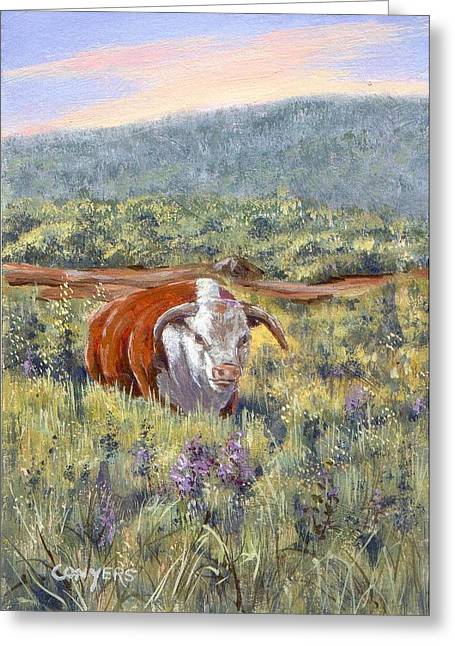 White Face Bull Greeting Card by Peggy Conyers