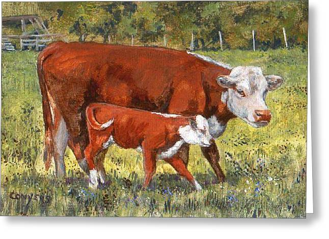 White Face Cow And Calf Greeting Card by Peggy Conyers