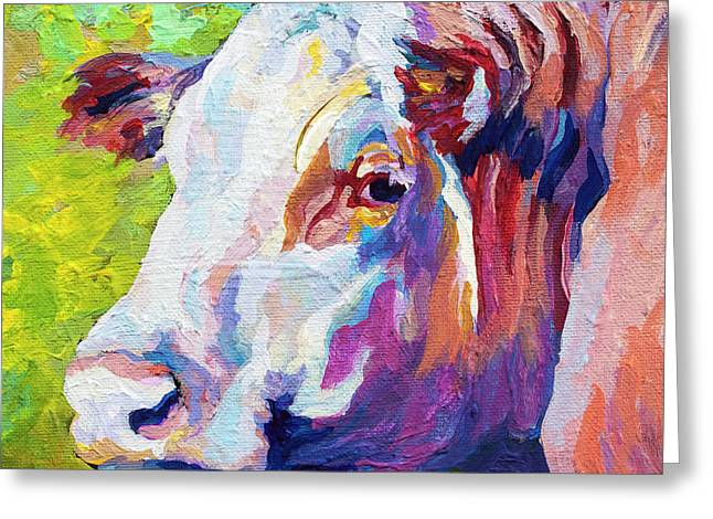 Cattle Greeting Cards - White Face Cow Greeting Card by Marion Rose