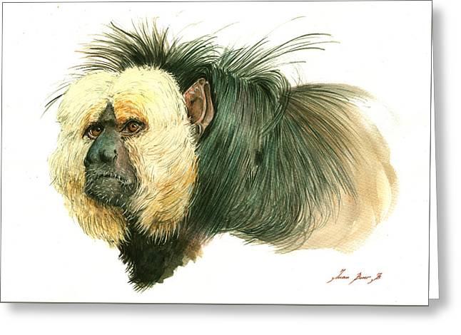 White Faced Saki Monkey Greeting Card by Juan Bosco