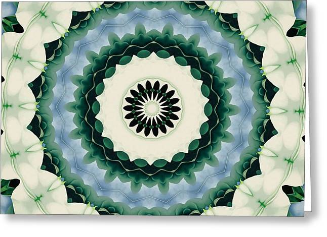 White Flower And Cerulean Blue Mandala Greeting Card by Tracey Harrington-Simpson