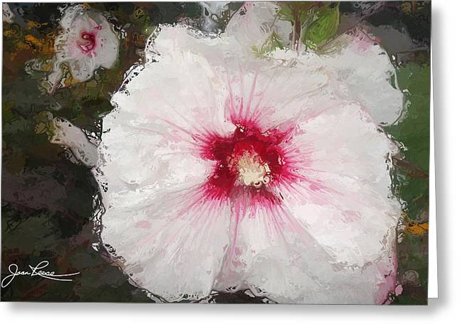 Greeting Card featuring the painting White Flower by Joan Reese