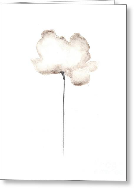 White Flower Minimalist Painting Greeting Card by Joanna Szmerdt
