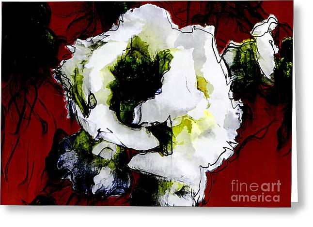 White Flower On Red Background Greeting Card