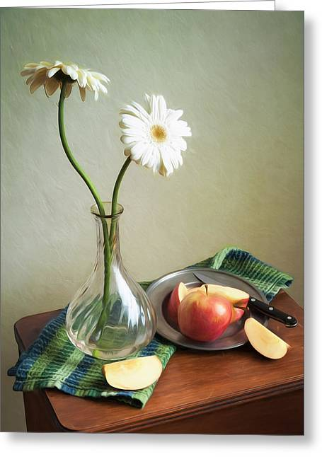 White Flowers And Red Apples Greeting Card
